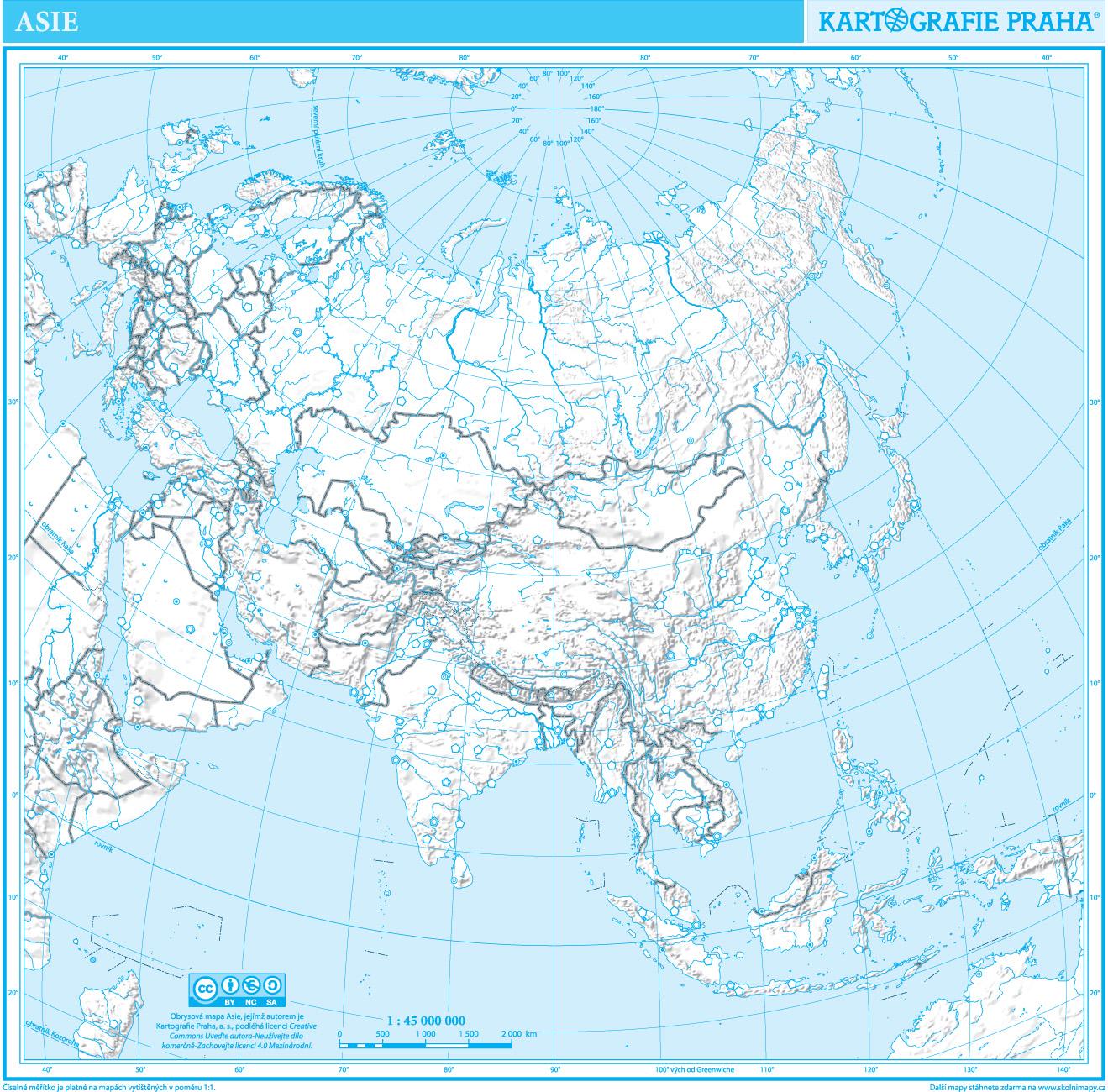 Asie Obrysova Mapa Skolnimapy